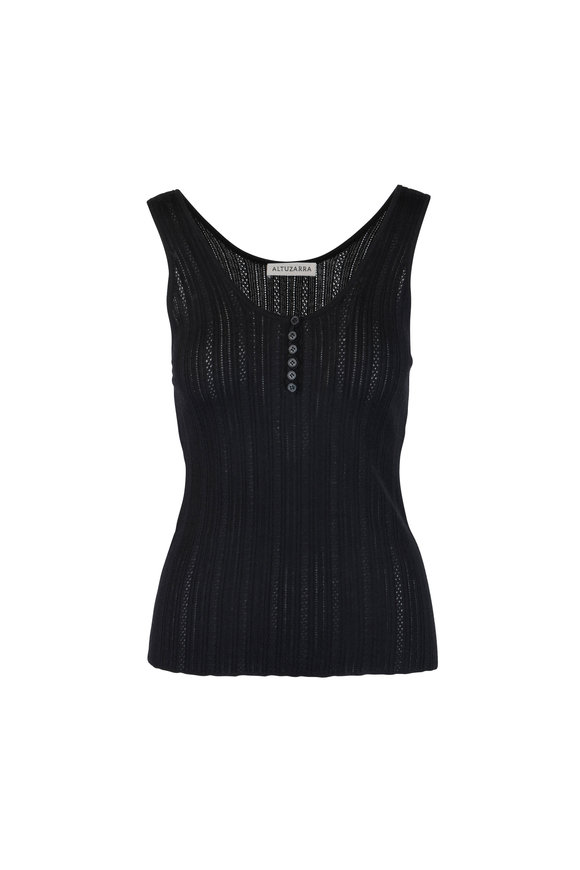 Altuzarra Black Wool & Cashmere Scoop Neck Knit Top