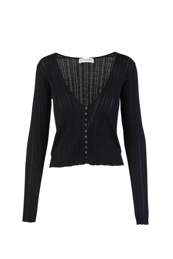 Altuzarra Black Wool & Cashmere Knit Cardigan