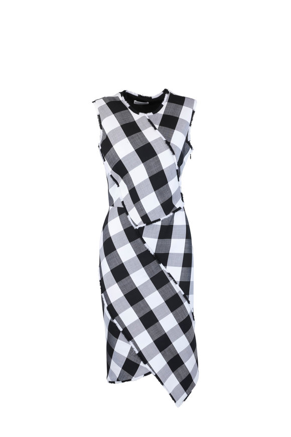 Altuzarra Gina Black & White Gingham Wool Dress