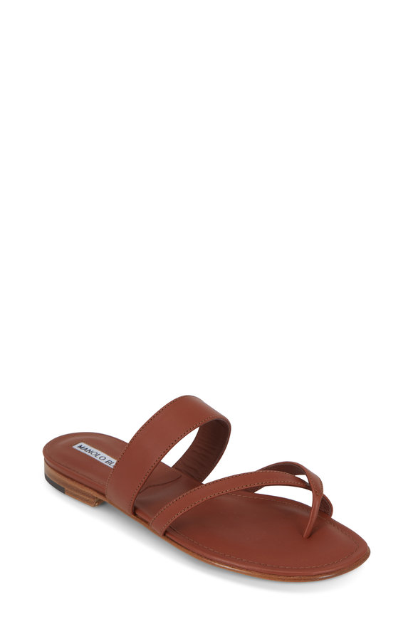 Manolo Blahnik Susa Luggage Leather Toe Ring Flat Sandal