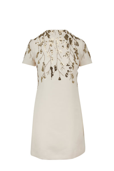 Valentino - Ivory Crepe Couture Embroidered Dress