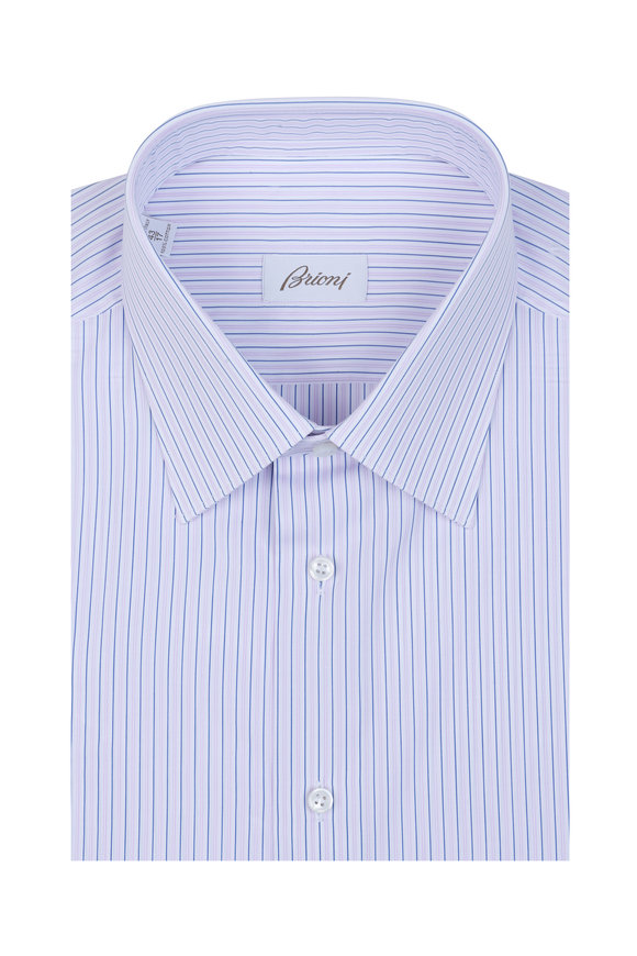 Brioni Pink & Blue Striped Dress Shirt