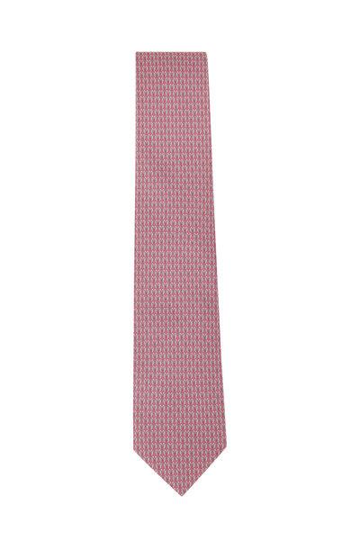 Salvatore Ferragamo - Pink Bird Pattern Silk Necktie