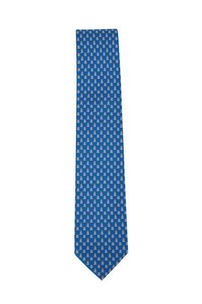 Salvatore Ferragamo - Blue Frog Prince Pattern Silk Necktie