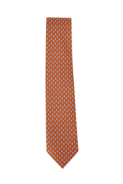 Salvatore Ferragamo - Orange Frog Prince Pattern Silk Necktie