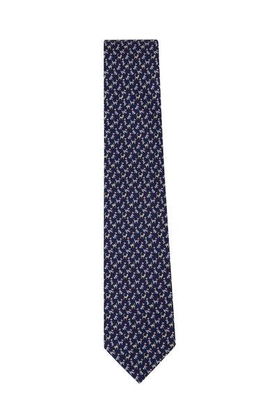Salvatore Ferragamo - Navy Cats & Dogs Pattern Silk Necktie