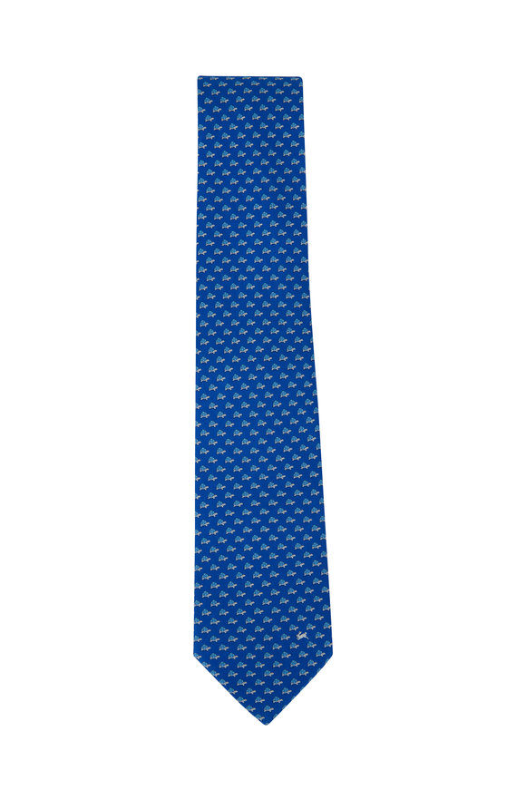 Salvatore Ferragamo Blue Turtle Pattern Silk Necktie