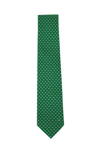 Salvatore Ferragamo - Green Turtle Pattern Silk Necktie