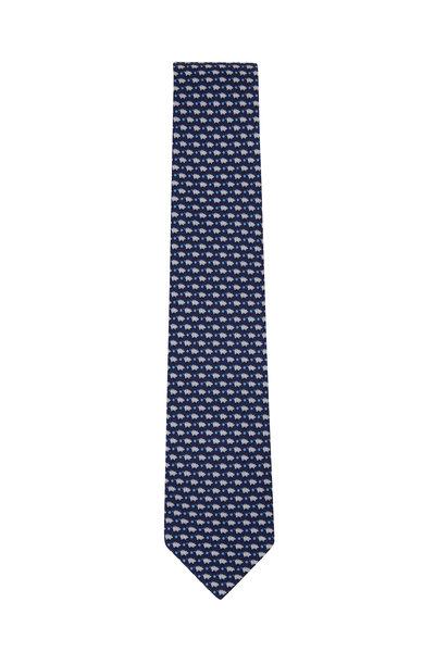 Salvatore Ferragamo - Navy Pig Pattern Silk Necktie