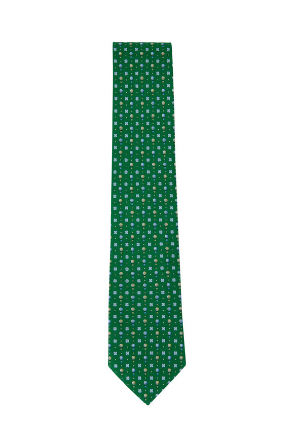 Salvatore Ferragamo Green Hot Air Balloon Pattern Silk Necktie
