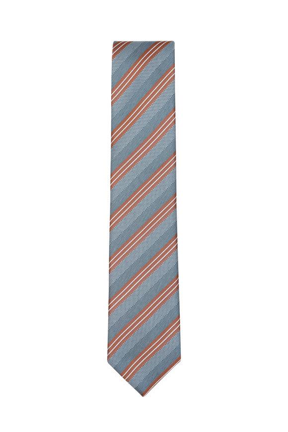 Brioni Gray & Bronze Striped Silk Necktie