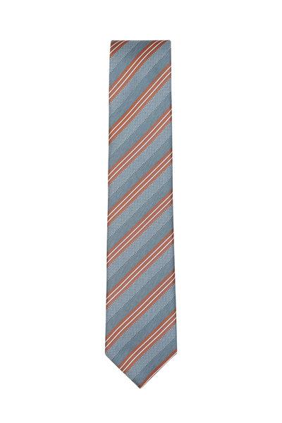 Brioni - Gray & Bronze Striped Silk Necktie