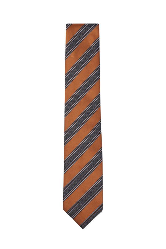 Brioni Orange & Brown Striped Silk Necktie