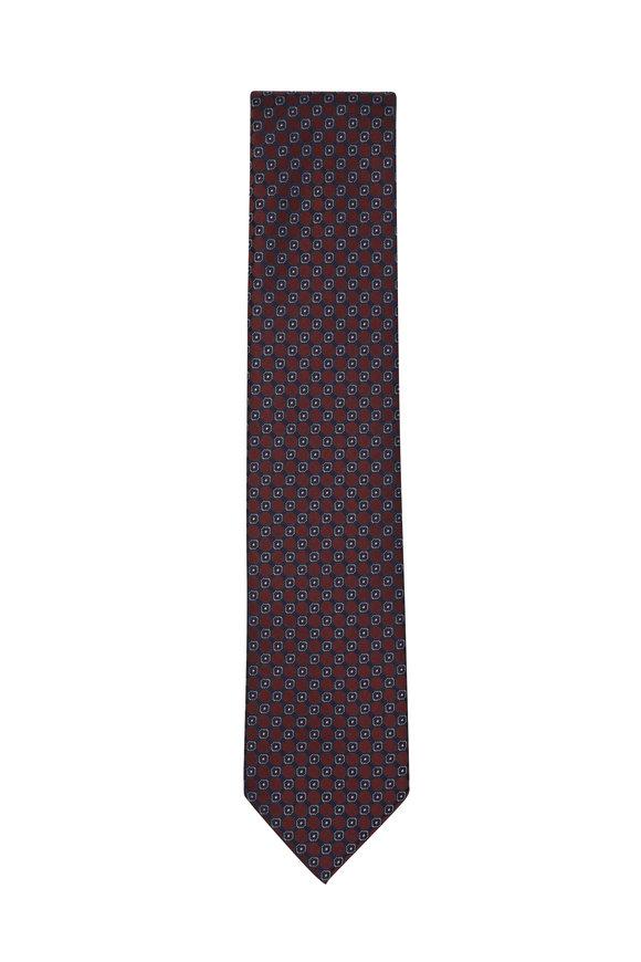 Brioni Bordeaux & Blue Geometric Silk Necktie