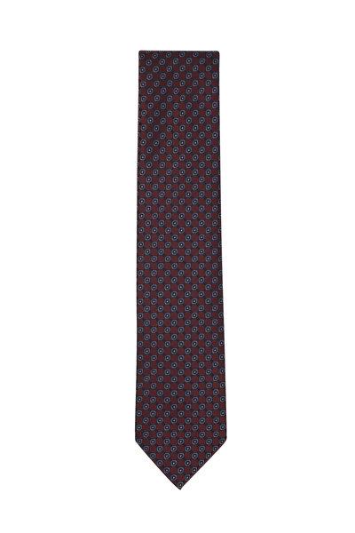 Brioni - Bordeaux & Blue Geometric Silk Necktie