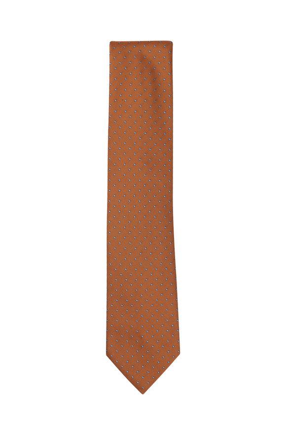 Brioni Orange Dot Silk Necktie