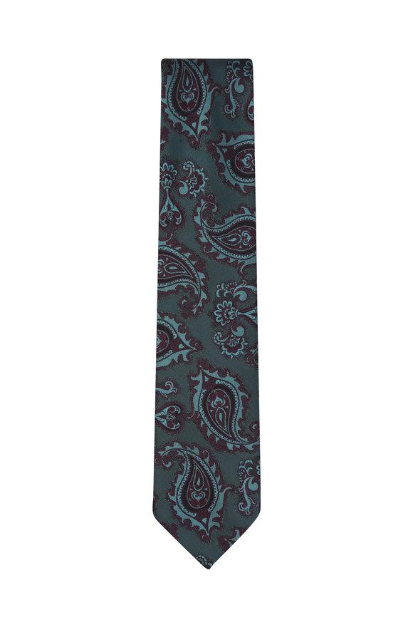 Brioni Green & Burgundy Paisley Silk Necktie