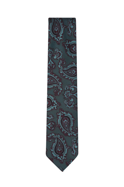 Brioni - Green & Burgundy Paisley Silk Necktie