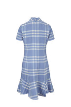 Oscar de la Renta - Light Blue & White Plaid Flounce Hem Dress