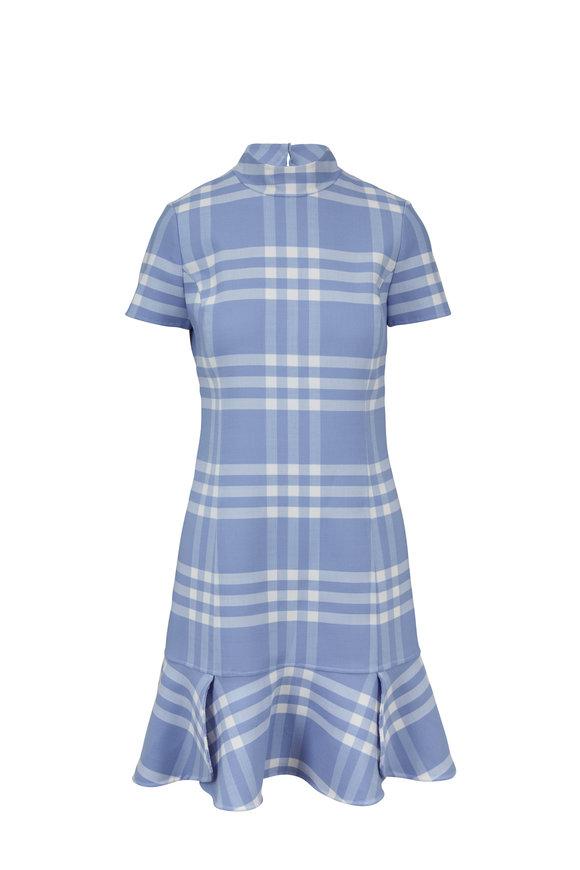 Oscar de la Renta Light Blue & White Plaid Flounce Hem Dress