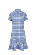 Oscar de la Renta - Light Blue & White Plaid Flounce Hem Dress