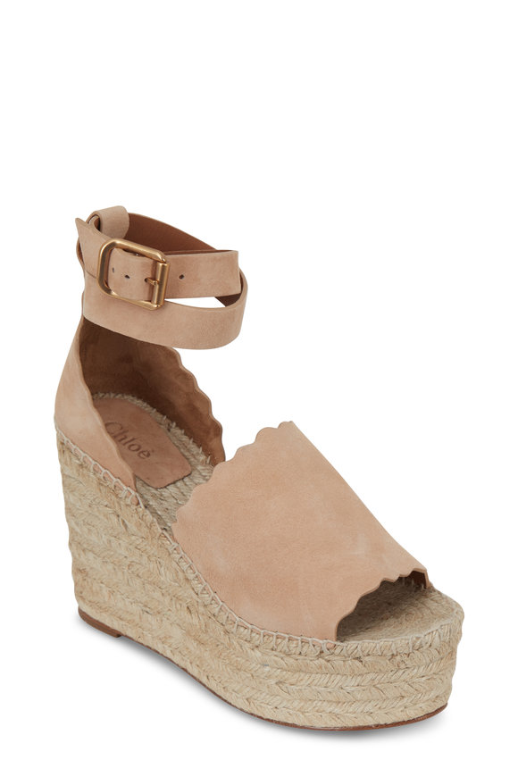 Chloé Lauren Shell Suede Scalloped Wedge Sandals, 110mm
