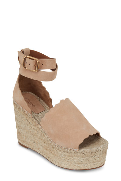 Chloé - Lauren Shell Suede Scalloped Wedge Sandals, 110mm