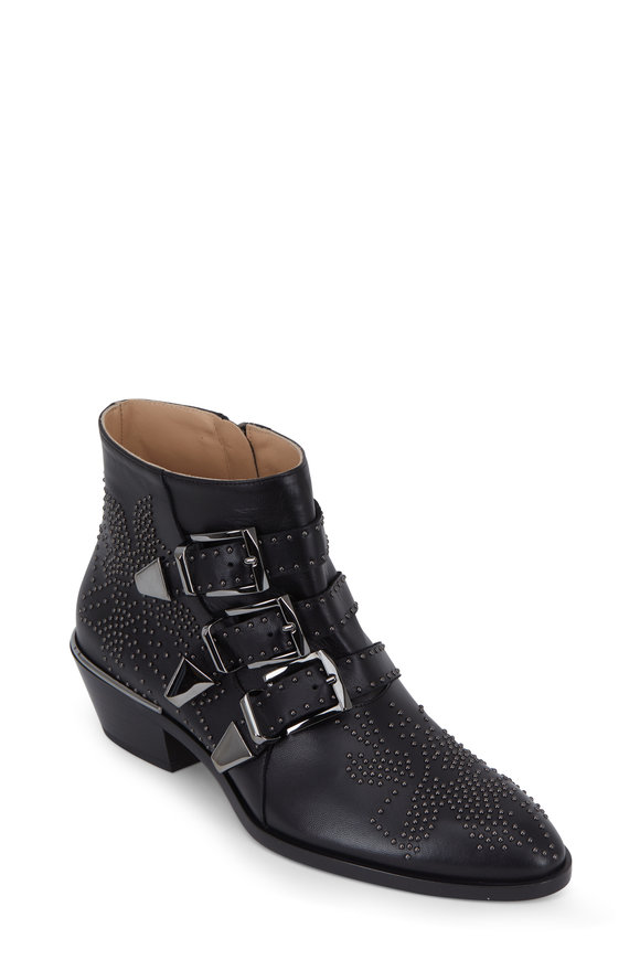 Chloé Susanna Black Leather Studded Ankle Boot,  50mm