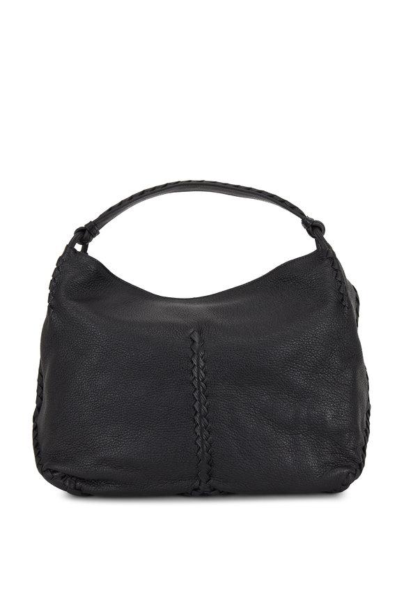 Bottega Veneta Black Cervo Leather Braided Detail Hobo Bag