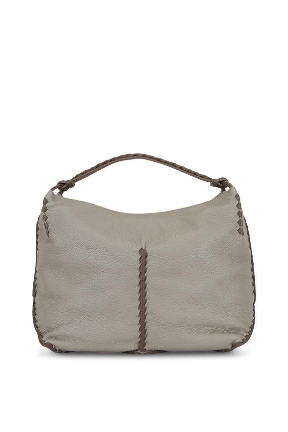 Bottega Veneta Dark Gray Cervo Leather Braided Detail Hobo Bag