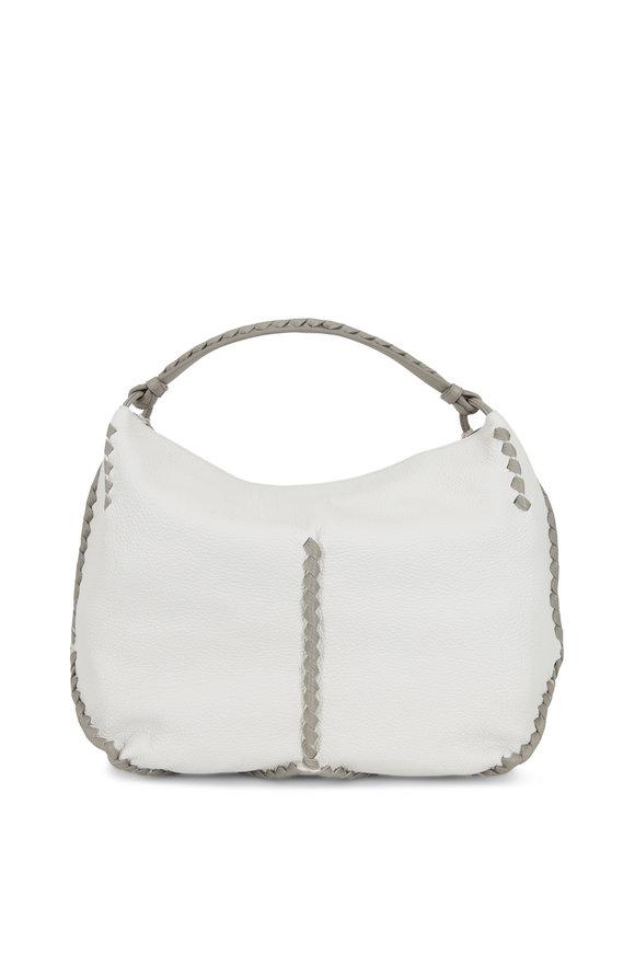 Bottega Veneta Mist & Gray Cervo Leather Braided Detail Hobo Bag