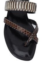 Manolo Blahnik - Susa Gray & Brown Snakeskin Toe Ring Flat Sandal