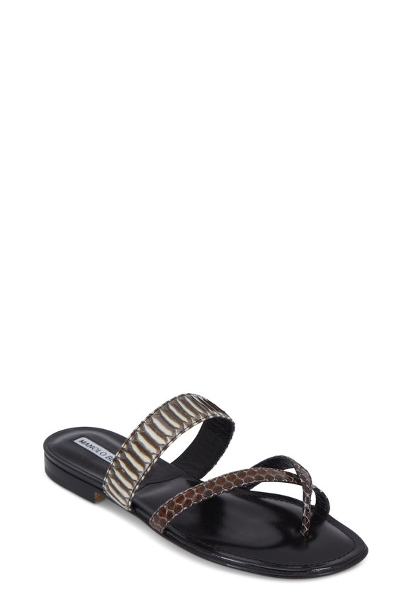 Manolo Blahnik Susa Gray & Brown Snakeskin Toe Ring Flat Sandal
