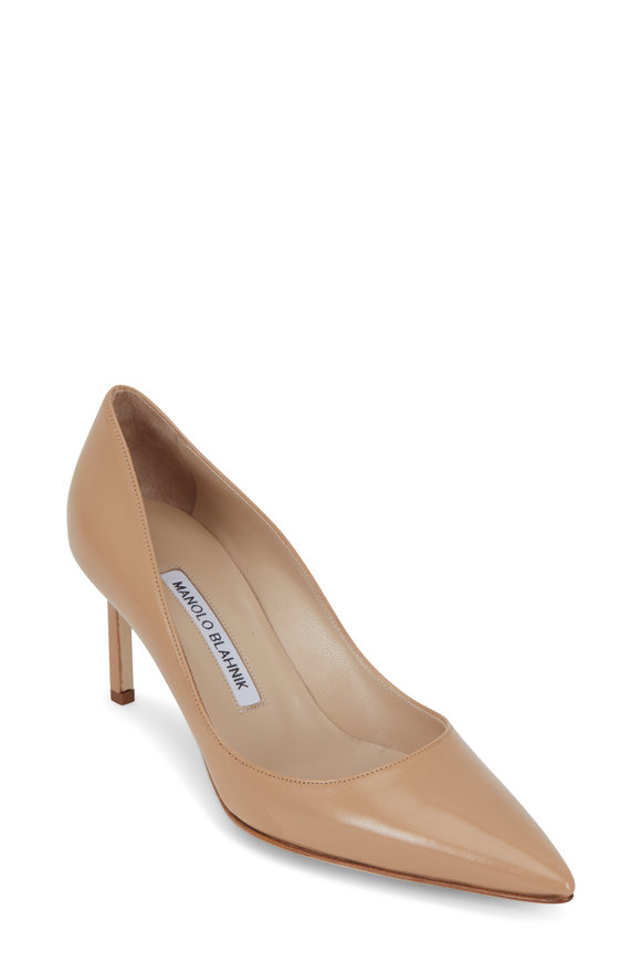 Manolo Blahnik Lisa Nude Leather Pump, 70mm