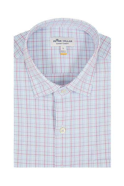Peter Millar - Ollie Blue & Lavender Mini Plaid Sport Shirt