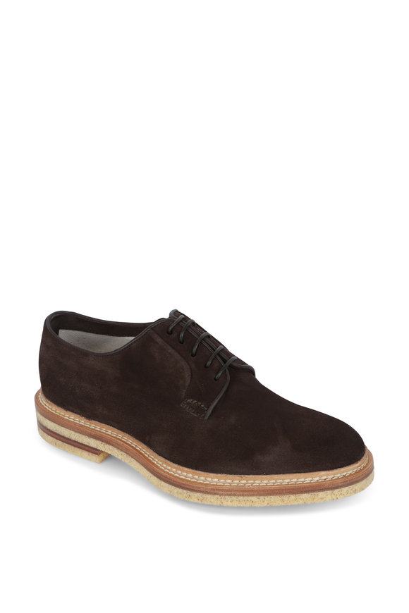 Kiton Dark Brown Suede Derby Shoe