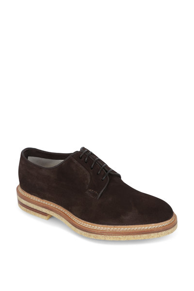 Kiton - Dark Brown Suede Derby Shoe