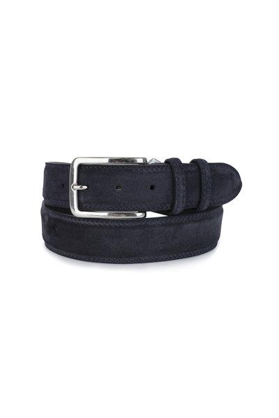 Bontoni - Navy Blue Suede Belt