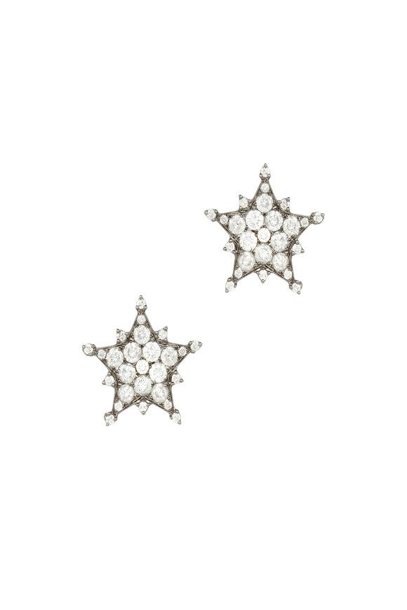Nam Cho 18K White Gold Diamond Star Earrings