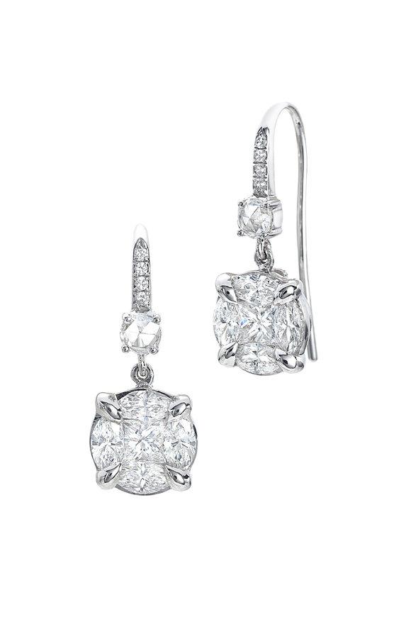 Nam Cho 18K White Gold Diamond Dangle Earrings