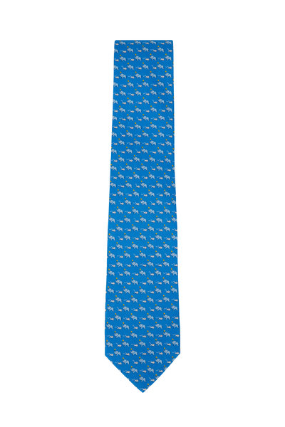 Salvatore Ferragamo - Blue Elephant & Mouse Pattern Silk Necktie