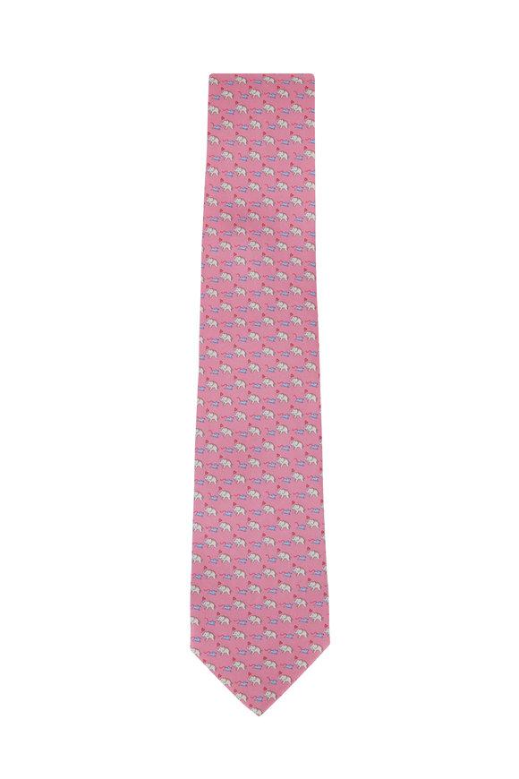 Salvatore Ferragamo Pink Elephant & Mouse Pattern Silk Necktie