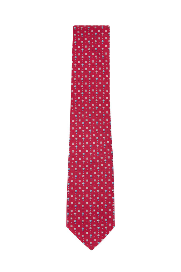 Salvatore Ferragamo Hot Pink Balloon Pattern Silk Necktie