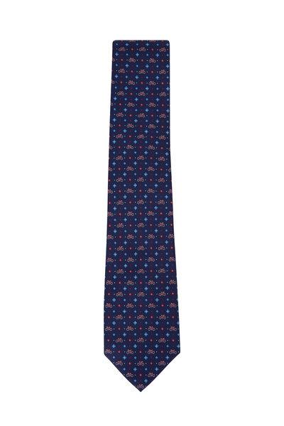 Salvatore Ferragamo - Navy Bicycle Pattern Silk Necktie