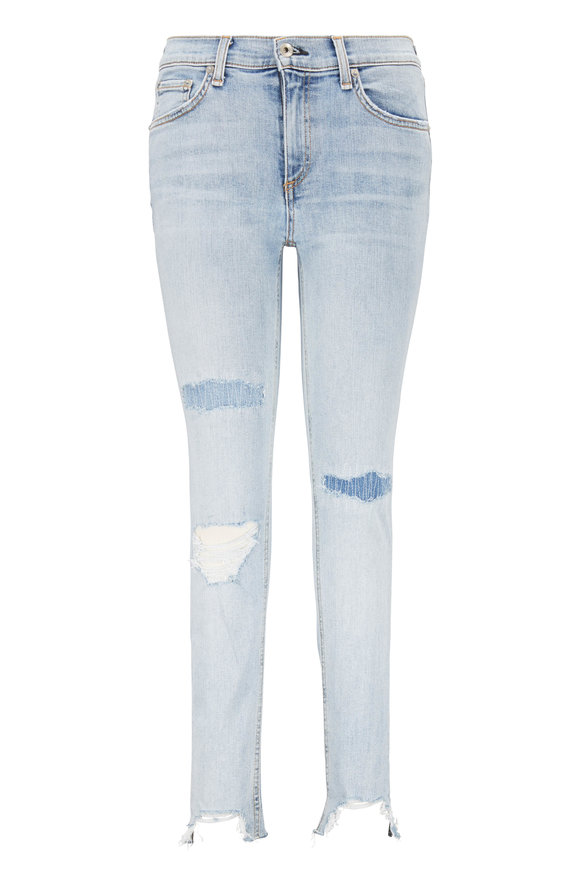 Rag & Bone Light Wash Distressed & Repaired Ankle Skinny Jean