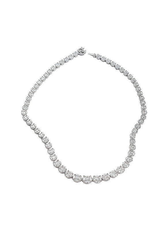 Nam Cho 18K White Gold Riviera Diamond Necklace
