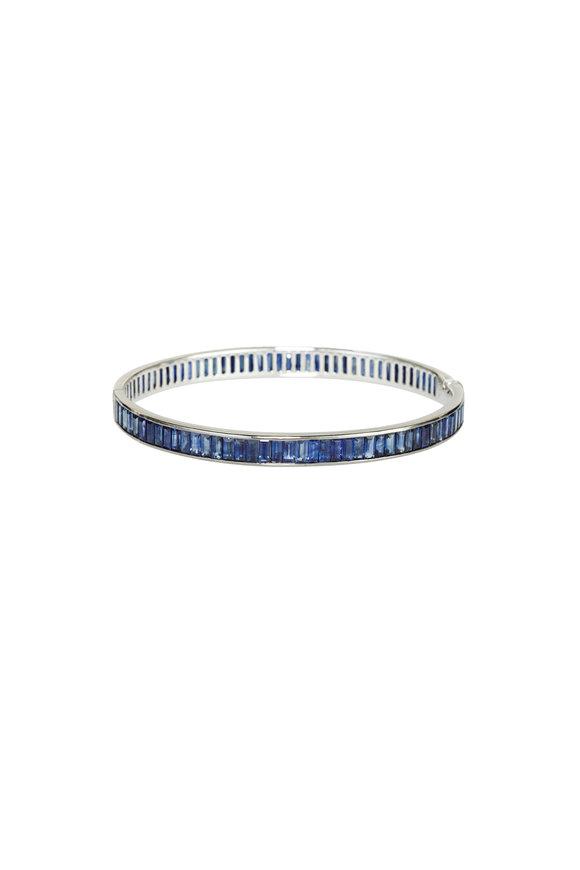 Nam Cho 18K White Gold Blue & White Sapphire Bangle