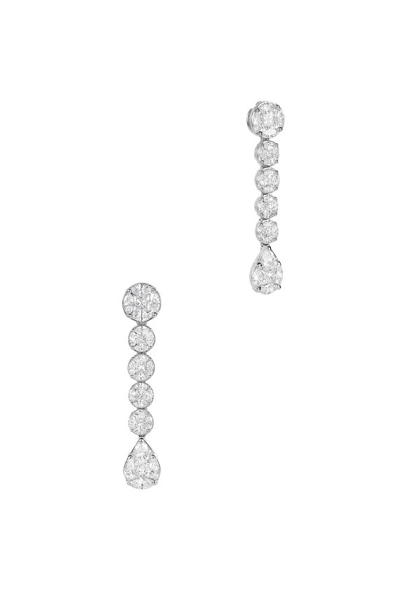 Nam Cho 18K White Gold Two-Way Detachable Line Earrings