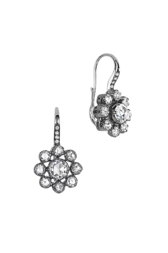 Nam Cho 18K White Gold Flower Drop Earrings