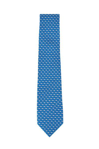 Salvatore Ferragamo - Blue Pig Pattern Silk Necktie